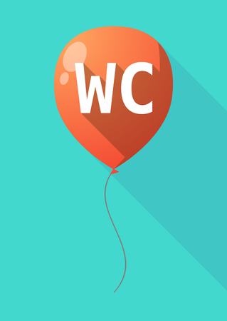 Illustration of a long shadow decorative air balloon icon with    the text WC
