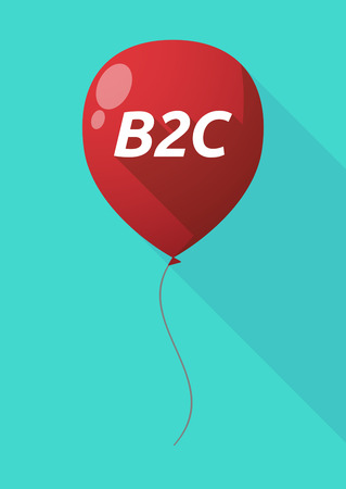 b2c: Illustration of a long shadow decorative air balloon icon with    the text B2C
