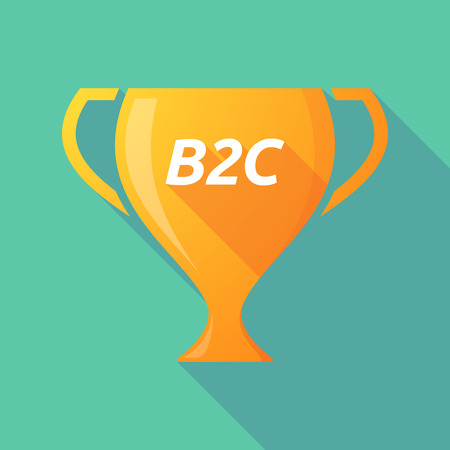 b2c: Illustration of a long shadow golden award cup icon with    the text B2C Illustration