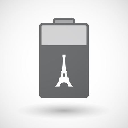lithium: Illustration of an isolated electric energy battery icon with   the Eiffel tower