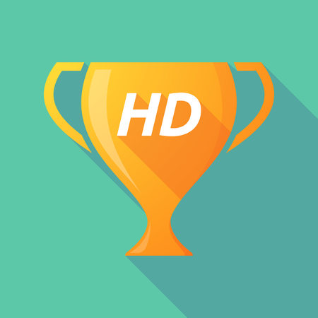 Illustration of a long shadow golden award cup icon with    the text HD