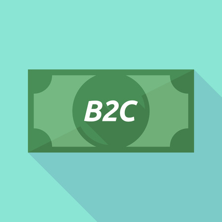 b2c: Illustration of a long shadow green bank note icon with    the text B2C
