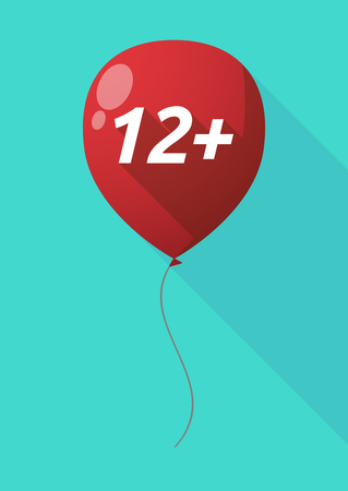 approval rate: Illustration of a long shadow decorative air balloon icon with    the text 12+
