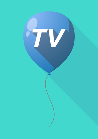 Illustration of a long shadow decorative air balloon icon with    the text TV