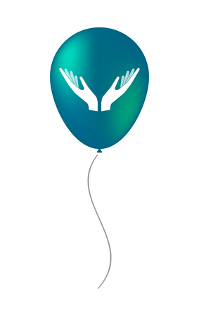 Illustration of an isolated decorative air balloon icon with  two hands offering