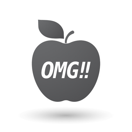 oh: Illustration of an isolated fresh apple fruit icon with    the text OMG!!