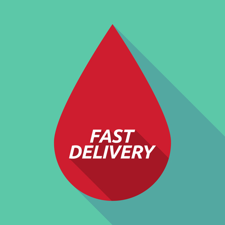 medical distribution: Illustration of a long shadow red blood drop icon with  the text FAST DELIVERY Illustration