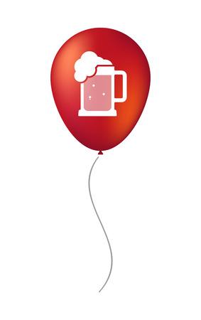 beer jar: Ilustración de un icono de globo de aire decorativa aislada con un icono de jarra de cerveza
