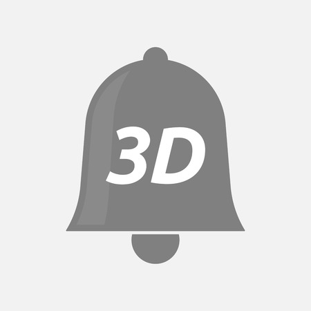 text 3d: Illustration of an isolated bell icon with    the text 3D