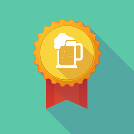 tarro cerveza: Illustration of a long shadow badge icon with  a beer jar icon