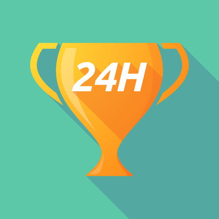 Illustration of a long shadow golden award cup icon with    the text 24H Illustration