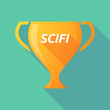Illustration of a long shadow golden award cup icon with    the text SCIFI