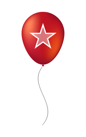 Illustration of an isolated decorative air balloon icon with  the red star of communism icon