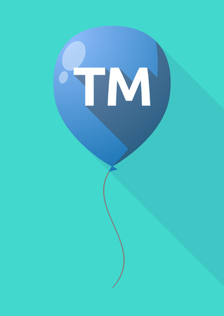 Illustration of a long shadow decorative air balloon icon with    the text TM
