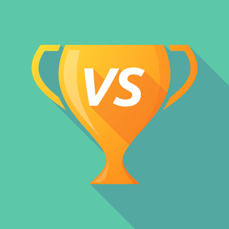 vs: Illustration of a long shadow golden award cup icon with    the text VS