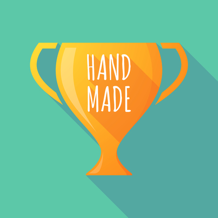 do it: Illustration of a long shadow golden award cup icon with    the text HAND MADE