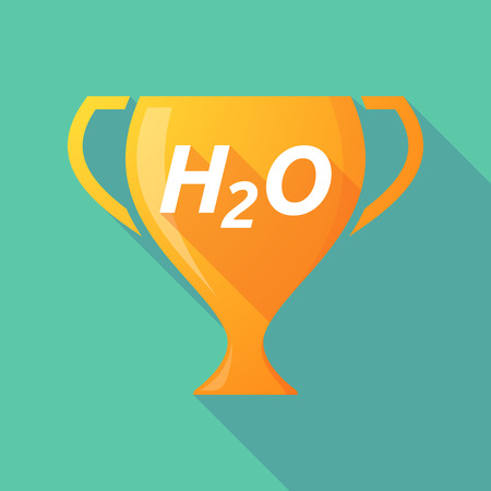 h2o: Illustration of a long shadow golden award cup icon with    the text H2O