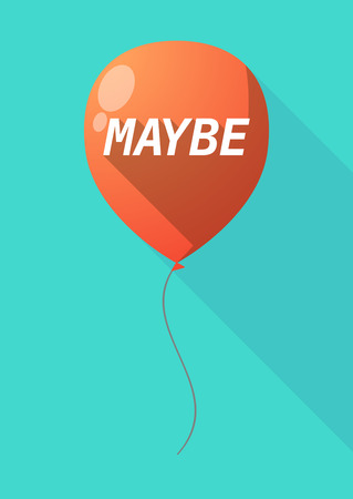 maybe: Illustration of a long shadow decorative air balloon icon with    the text MAYBE Illustration