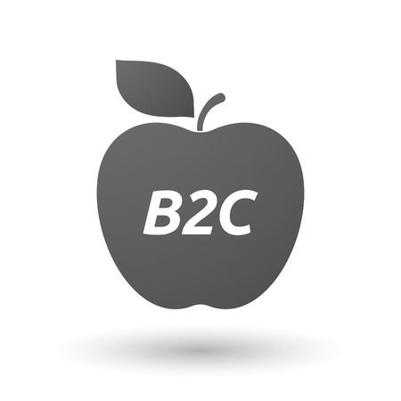 b2c: Illustration of an isolated fresh apple fruit icon with    the text B2C