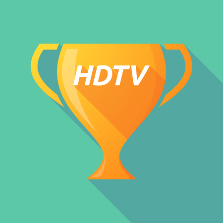 Illustration of a long shadow golden award cup icon with    the text HDTV