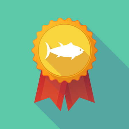 tuna fish: Illustration of a long shadow badge icon with  a tuna fish Illustration