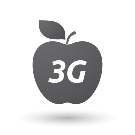 3g: Illustration of an isolated fresh apple fruit icon with    the text 3G Illustration
