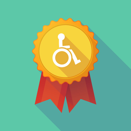 Illustration of a long shadow badge icon with  a human figure in a wheelchair icon