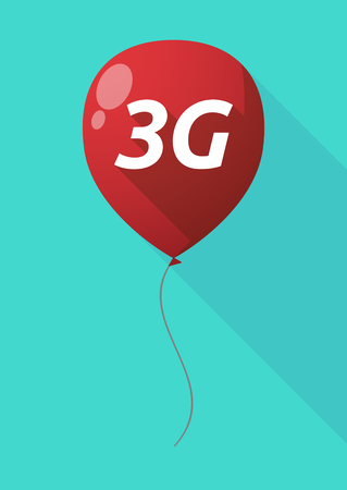 3g: Illustration of a long shadow decorative air balloon icon with    the text 3G