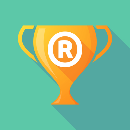 Illustration of a long shadow golden award cup icon with    the registered trademark symbol Illustration
