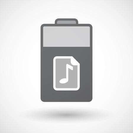 musique partition: Illustration d'une icône de la batterie d'énergie électrique isolé avec une icône de partition