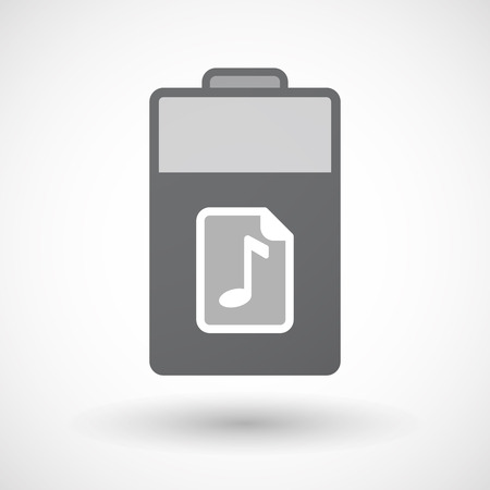 lithium: Illustration of an isolated electric energy battery icon with  a music score icon Illustration