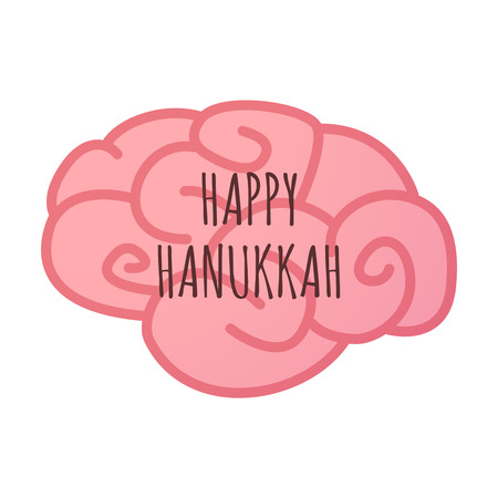 Illustration of an isolated brain icon with    the text HAPPY HANUKKAH Illustration