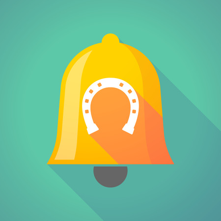 Illustration of a long shadow gold metal bell icon with  a horseshoe sign