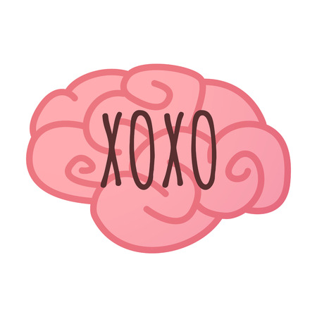 Illustration of an isolated brain icon with    the text XOXO