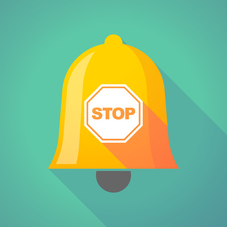ring road: Illustration of a long shadow gold metal bell icon with  a stop signal