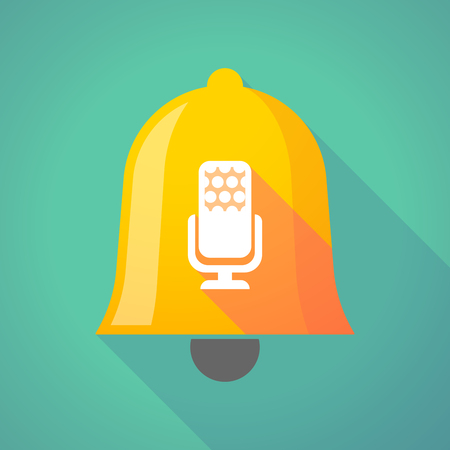 Illustration of a long shadow gold metal bell icon with  a microphone sign