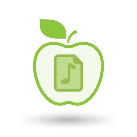 partition musique: Illustration d'un art isolé ligne pomme sain vecteur fruit icône avec une icône de partition