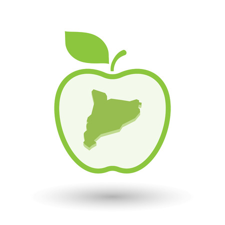 Illustration of an isolated line art healthy apple fruit vector icon with  the map of Catalonia