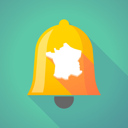 Illustration of a long shadow gold metal bell icon with  the map of France