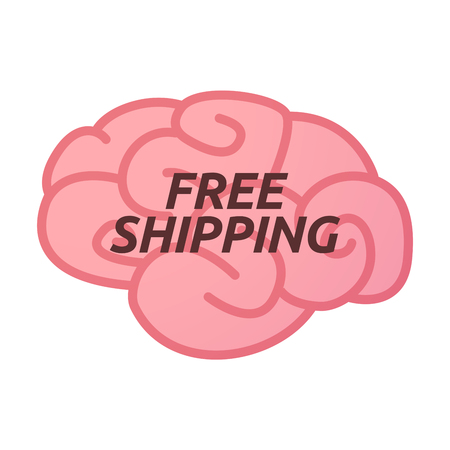 free the brain: Illustration of an isolated brain icon with    the text FREE SHIPPING