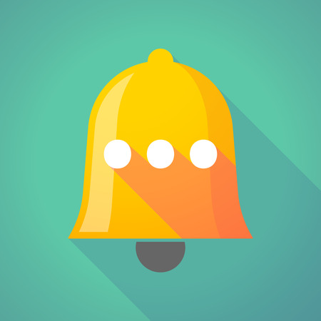 ellipse: Illustration of a long shadow gold metal bell icon with  an ellipsis orthographic sign