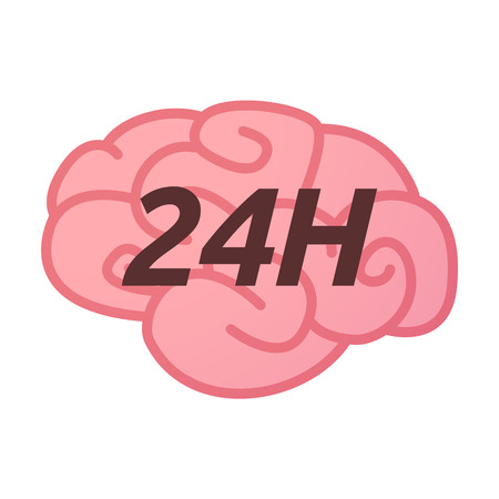 Illustration of an isolated brain icon with    the text 24H Illustration