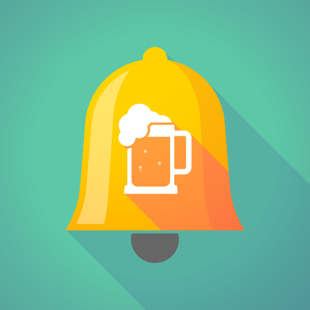 tarro cerveza: Illustration of a long shadow gold metal bell icon with  a beer jar icon Vectores