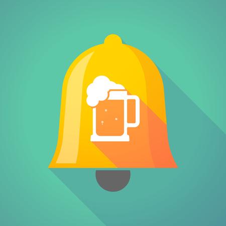 beer jar: Ilustración de un icono de la campana de metal de oro larga sombra con un icono de jarra de cerveza