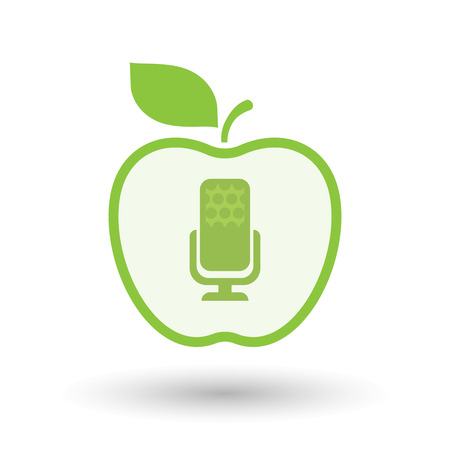 Illustration of an isolated line art healthy apple fruit vector icon with  a microphone sign