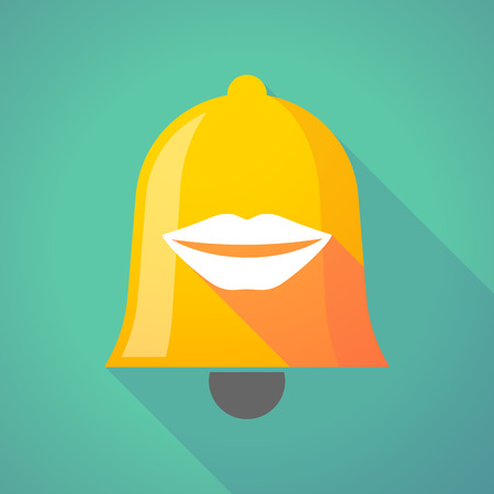 long mouth: Illustration of a long shadow gold metal bell icon with  a female mouth smiling