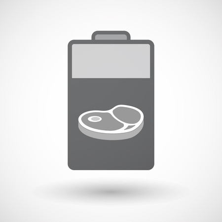 Illustration of an isolated electric energy battery icon with  a steak icon