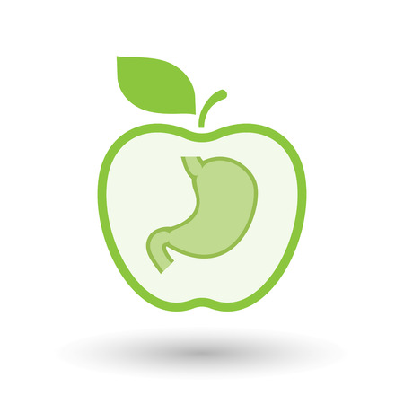 Illustration of an isolated line art healthy apple fruit vector icon with  a healthy human stomach icon Illustration