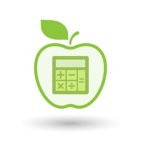 Illustration of an isolated line art healthy apple fruit vector icon with  a calculator Illustration