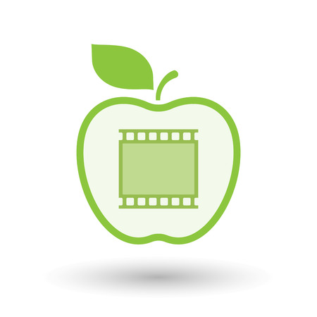 Illustration of an isolated line art healthy apple fruit vector icon with   a photographic 35mm film strip